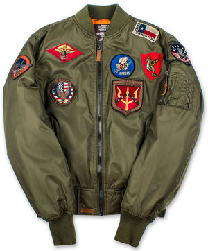 Бомбер Top Gun MA-1 Nylon Bomber Jacket with Patches (оливковий)