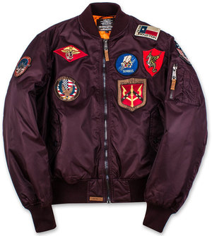 Бомбер Top Gun MA-1 Nylon Bomber Jacket with Patches (бордовий)